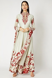 Mint Green & Red Printed Embroidered Anarkali Set by Adah