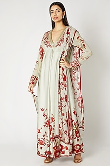 Mint Green & Red Embroidered Anarkali Set by Adah