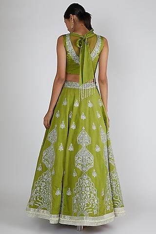 Mehendi Green Embroidered Lehenga Set by Adah