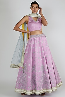 Purple Embroidered Lehenga Set by Adah