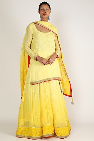 Yellow Embroidered Sharara Set by Adah