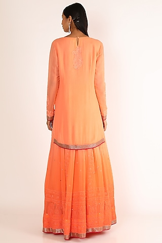 Orange Embroidered Sharara Set by Adah