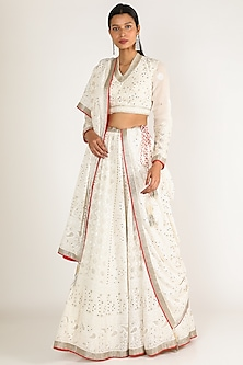 White Embroidered Lehenga Set by Adah