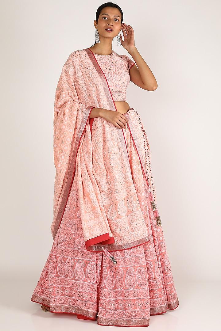 Blush Pink Embroidered Lehenga Set by Adah