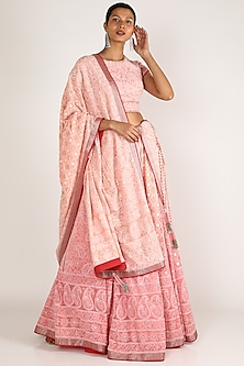 Blush Pink Embroidered Lehenga Set by Adah