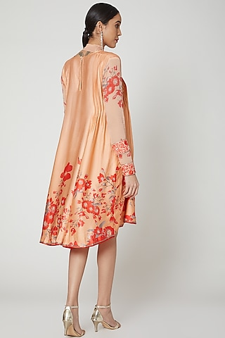 Peach & Red Sequins Embroidered Tunic by Adah