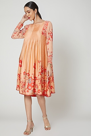Peach & Red Embroidered Printed Tunic by Adah