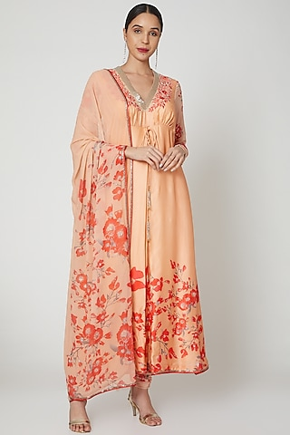 Peach & Red Embroidered Anarkali Set by Adah