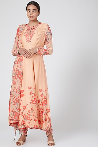 Peach Printed & Embroidered Anarkali Set by Adah
