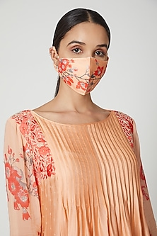 Peach & Red Printed Mask by Adah
