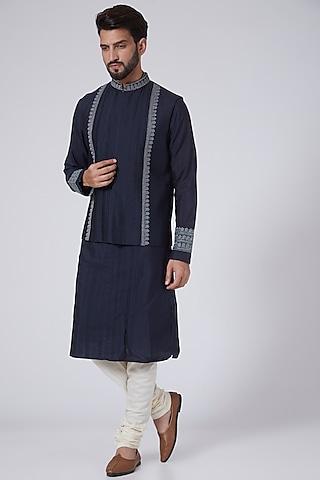 Navy Blue Embroidered Bundi Jacket With Kurta by Adah Men