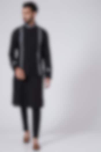 Black Embroidered Bundi Jacket With Kurta by Adah Men