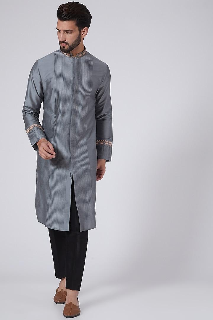 Grey Embroidered Kurta by Adah Men