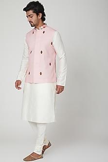 White & Pink Kurta Set by Adah Men