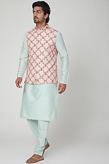 Mint Green & Pink Kurta Set by Adah Men