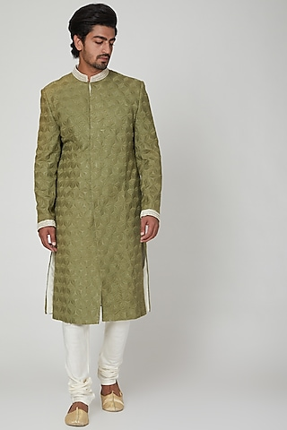 Olive Green Sherwani With Pants by Adah Men