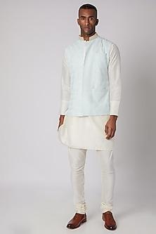 Sky Blue Embroidered Bundi Jacket With Kurta Set by Adah Men
