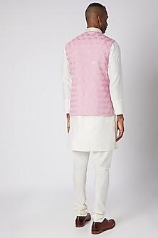 Lilac Embroidered Bundi Jacket With Kurta Set by Adah Men