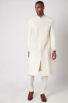 Cream Embroidered Sherwani Set by Adah Men