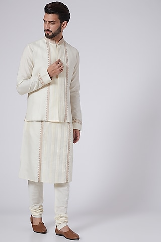 Ivory Embroidered Bundi Jacket With Kurta by Adah Men