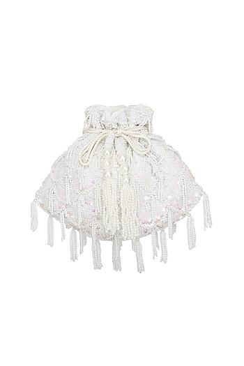 Cream Embroidered Flapper Potli Bag by Adora by Ankita