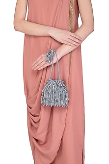 Grey Pearl Embroidered Flapper Potli Bag by Adora by Ankita