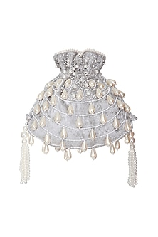 Light Grey Embroidered Teardrop Potli Bag by Adora by Ankita