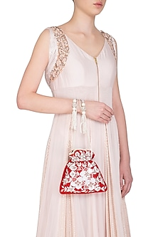 Red Embroidered Floral Potli Bag by Adora by Ankita
