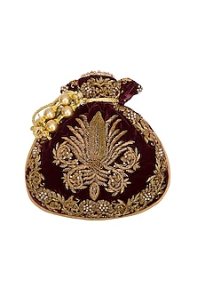 Maroon Embroidered Motif Potli Bag by Adora by Ankita