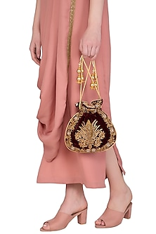 Maroon Embroidered Motif Potli Bag by Adora by Ankita