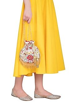 Cream Embroidered Phoenix Flapper Potli Bag by Adora by Ankita