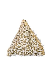 Gold Embroidered Pyramid Wristlet Potli Bag by Adora by Ankita