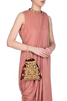 Maroon Embroidered Velvet Potli Bag by Adora by Ankita