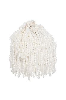 Cream Embroidered Pearl Potli Bag by Adora by Ankita
