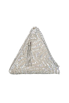 Silver Embroidered Chevron Pyramid Wristlet Potli Bag by Adora by Ankita