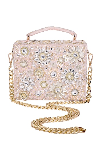 Peachy Pink Embroidered Floral Clutch by Adora by Ankita