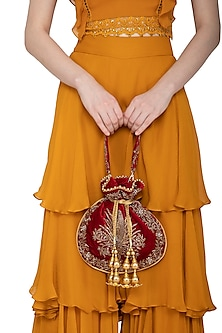 Maroon Embroidered Potli Bag by Adora by Ankita