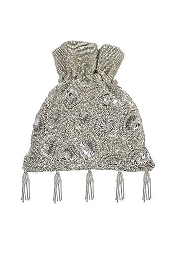 Silver Embroidered Potli Bag by Adora by Ankita