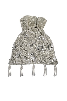 Silver Embroidered Potli Bag by Adora by Ankita