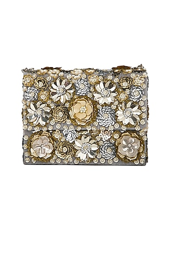 Gold Sequins Embroidered Clutch by Adora by Ankita