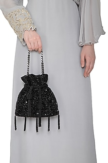 Black Sequins Embroidered Potli Bag by Adora by Ankita