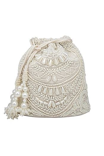 Cream Pearl Embroidered Potli Bag by Adora by Ankita