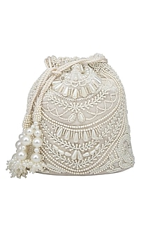 Cream Pearl Embroidered Potli Bag by Adora by Ankita