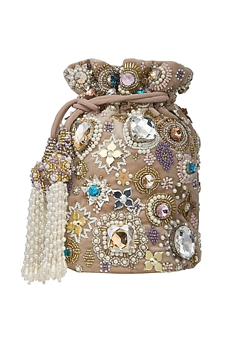 Gold Beads Embroidered Potli Bag by Adora by Ankita