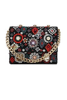 Black Embroidered Velvet Clutch by Adora by Ankita