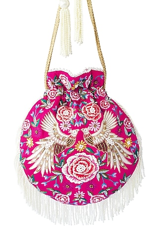 Pink Sequins Embroidered Potli Bag by Adora By Ankita