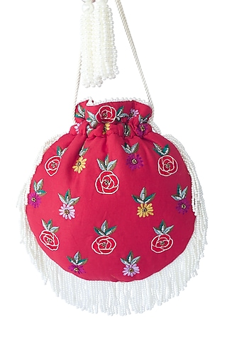 Red Embroidered Potli Bag by Adora By Ankita