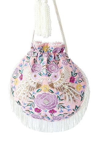 Light Pink Embroidered Potli Bag by Adora By Ankita