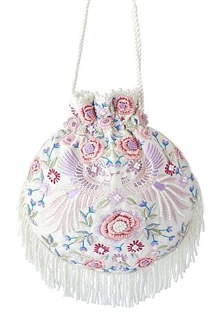 White Embroidered Potli Bag by Adora By Ankita