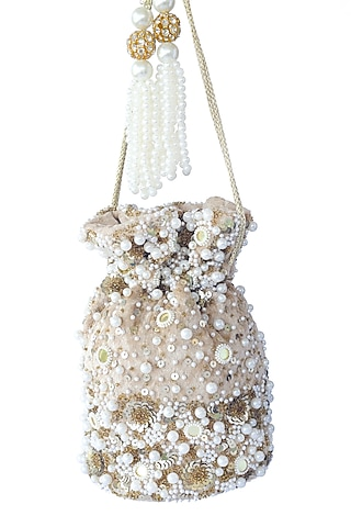 Gold Sequins Embroidered Potli Bag by Adora By Ankita